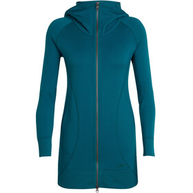 Icebreaker Dia Long Hooded Jacket Women Kingfisher